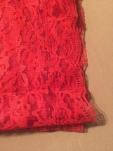 """Vintage 70s Red Polyester """"lace"""" rectangular table cloth/festive overlay image 3"""