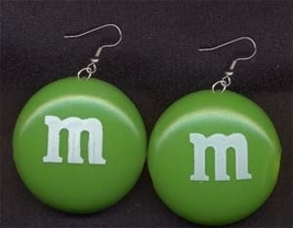 M&M EARRINGS-Chocolate Candy Junk Food Charm Costume Funky Jewelry-GREEN-LARGE - $7.97