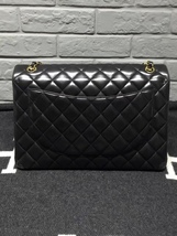 100% Authentic Chanel Black Quilted Lambskin Maxi Classic Double Flap Bag GHW image 2