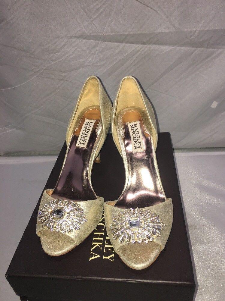 60c9f16f789 S l1600. S l1600. Previous. Badgley Mischka Jazmin II Gold Peep-Toe Pump Size  6 Women s stilettos