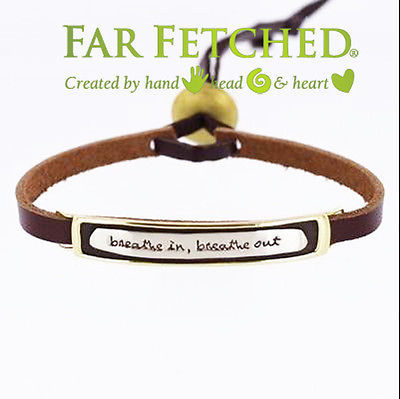 Leather Quote Bracelet Cuff Word Bracelet Breathe in Breathe Out Far Fetched