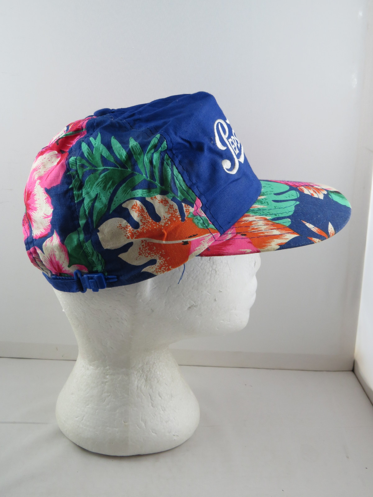6a62b3fa69c Vintage Pepsi Hat - Pepsi-Cola with Hawaiian Floral Pattern - Adult Zipper  Back
