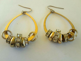 Large Gold Tone Teardrops with Crystal Charms Earrings - $1.99