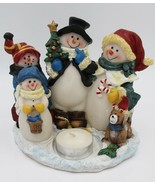 Snowman Family Christmas Holiday Tea Candle Holder Decorations Decor - $9.89