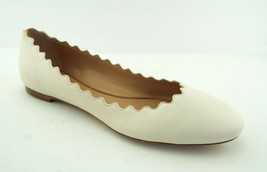 New CHLOE Size 8 LAUREN Off White Scalloped Ballet Flats Shoes 38 1/2 - £240.09 GBP