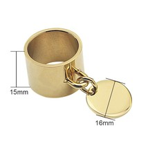 Luxury Rings Femme Engravable Round Tag Charm Fashion Jewelry 5 Colors 1... - $10.70