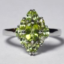 Natural Peridot Flower Cluster Ring Womens 925 Sterling Silver August Bi... - $59.00