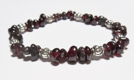The Gem Girl Garnet Chip Bead & Antique Silver Plated Bead Stretch Brace... - $21.00