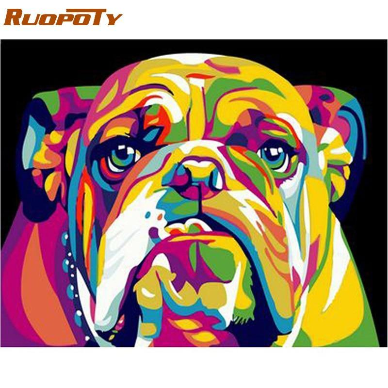 Primary image for RUOPOTY Frame Picture Dog Animals DIY Painting By Numbers Kits Hand painted Oil
