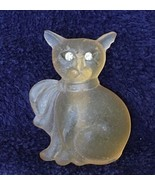 Clear Cat Pin With Rhinestone Eyes - $3.99