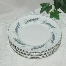Paragon Bridal Leaf Fine Bone China Bread Cake Plate Lot 6 Platinum Rim Flowers - $29.95