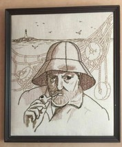 Fisherman Smoking Pipe Framed Needlepoint Embroidery Wall Art Old Man of... - $54.99