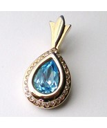 Blue topaz crystal tear drop clear rhinestone g... - $20.00