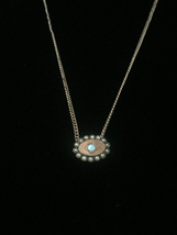 Antique 1900s gold-filled Opal and Seed Pearl oval slide charm necklace image 2
