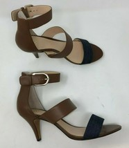 Vince Camuto Heels Sandals Ankle Strap Brown Leather 10W NWOB B52-14FOSCC - $28.99