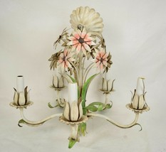 Italian Tole Chandelier Flower Floral Candle Electric Lighting 5 Arm - $322.50