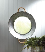 Metal Tin Wall Mirror Silver Pie Pan Frame With Rope Handles - $38.89