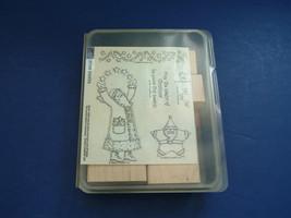 stampin up retired 1999 stamp set Star Santa 6 piece Christmas set mounted  - $16.78