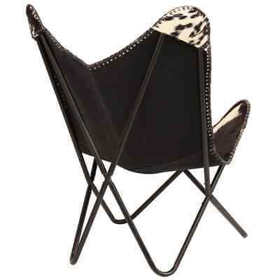 vidaXL Genuine Goat Leather Butterfly Chair Black White Armchair Furniture image 4