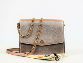 Tory Burch Robinson Convertible Metallic Leather Shoulder Bag (Retail $398) - $197.01