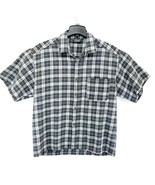 2XL Mens Button Front Shirt Button Short Sleeve SAGA White Gray Plaid Sk... - $12.19