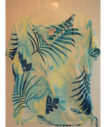 WOMEN'S Short Sleeve T CARIBBEAN JOE PETITE Large V-Neck Blue tie Side T... - $9.89