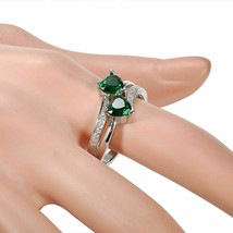 1.78 Ct Green Emerald Two Stone Engagement Wedding Ring 14k White Gold Over - $80.31