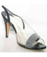 Amano Black & Clear Evening Sling back Heels W/ Rhinestones Women's Sz 7... - $4.99