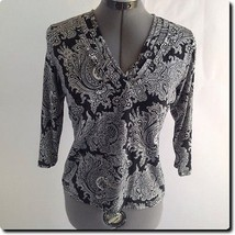 Closeout - Talbots Black and White Paisley V neck Top Petite S - $11.65