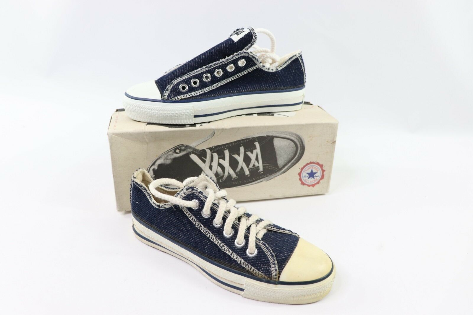 Vintage 90s Converse All Star Low Herren 4.5 W 6.5 Inside Out Denim Schuhe