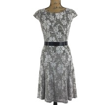 Anne Klein Dress 2 Sm S White Black Pucker Floral Stripe Cap Sl A Line T... - $24.95