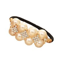 [Set of 2] Elegant Beads No-damage Elastics Ponytail Holders, Shinning Stars