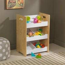 Kidkraft 15766 Kids Angled Bin Unit Toy Organizer Storage Shelf White/Natural - $55.95