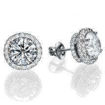 2.5ct Swarovski Diamond Brilliant Cut Classic Halo Stud Earring Solid 92... - $159.99