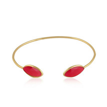 Pink Chalcedony Gemstone 925 Silver Gold Plated Handmade Sleek Cuff Bangle - $23.76