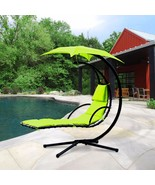 Hanging Chaise Lounger Chair Air Porch Swing Hammock Arc Stand Umbrella ... - $149.99
