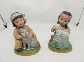 HOMCO Retired Native Boy w/Wolf & Girl w/Lamb #1428 Vintage EUC - $29.95
