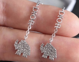 AUTH CHRISTIAN DIOR 2020 WHITE CRYSTAL DIORABLE ELEPHANT SILVER DANGLE EARRINGS image 3