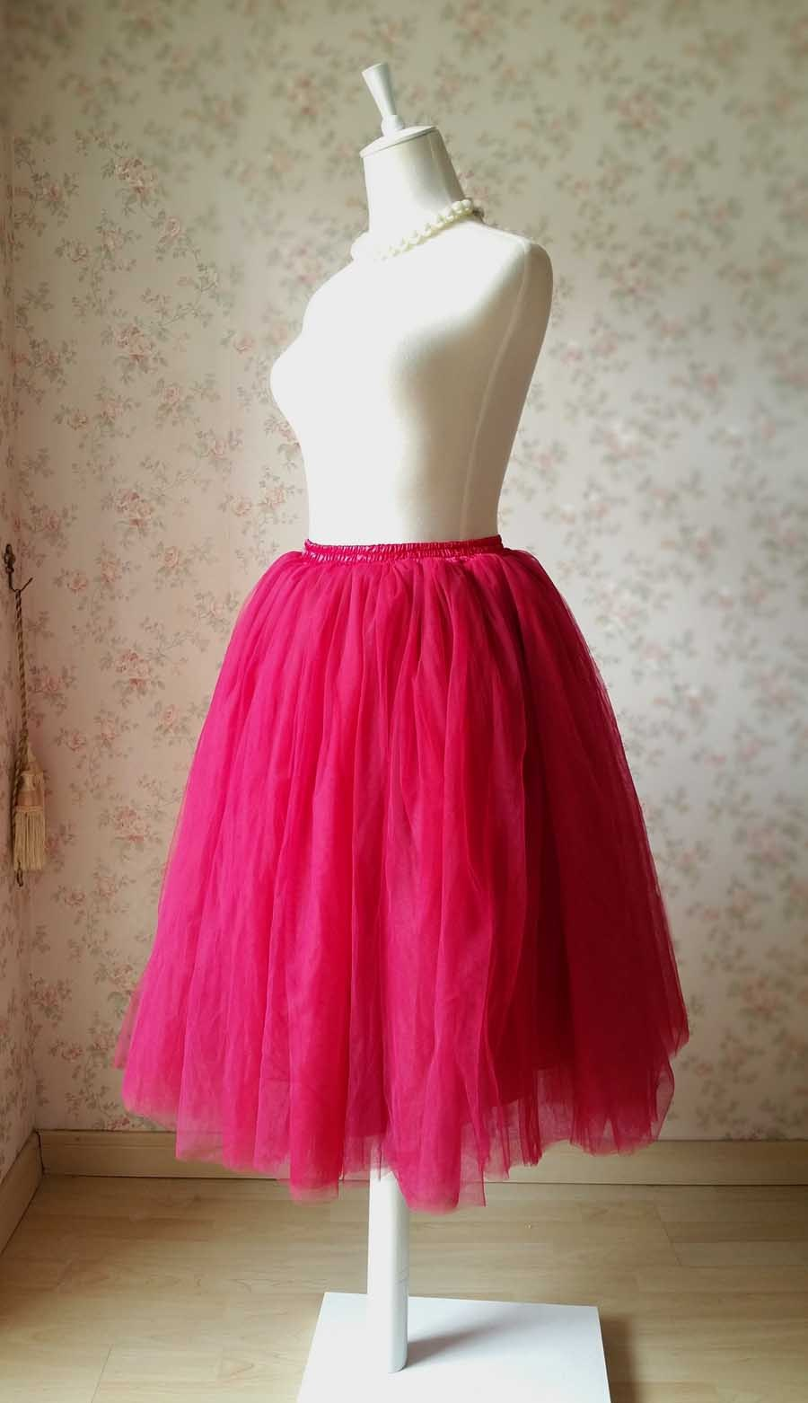 Deep Red Elastic High Waist Midi Tulle Skirt Adult Tea Length Midi Party Skirts