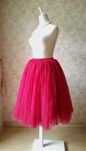 Deep Red Elastic High Waist Midi Tulle Skirt Adult Tea Length Midi Party Skirts image 2
