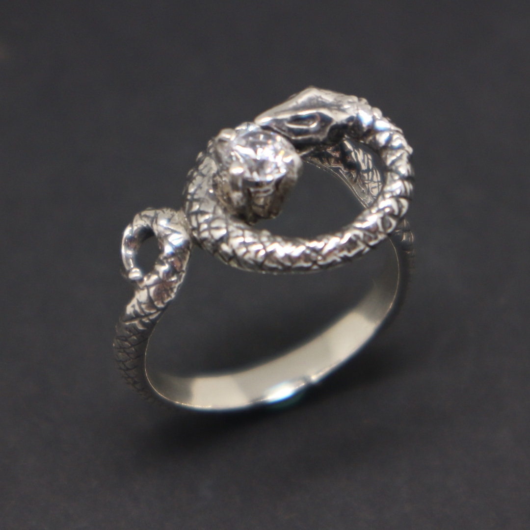 Silver Snake Biting Ring image 6