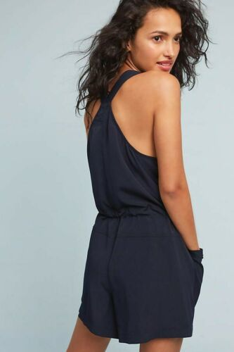 New Anthropologie Dree Utility Romper Elevenses Navy $118 Small Petite
