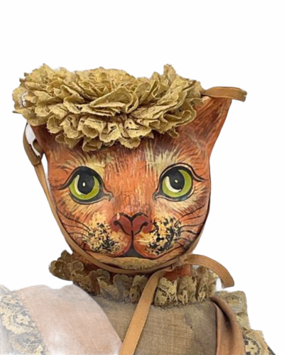 "Vintage Michael Berger Figure Figurine Art Sculpture Orange Cat Doll 21"""