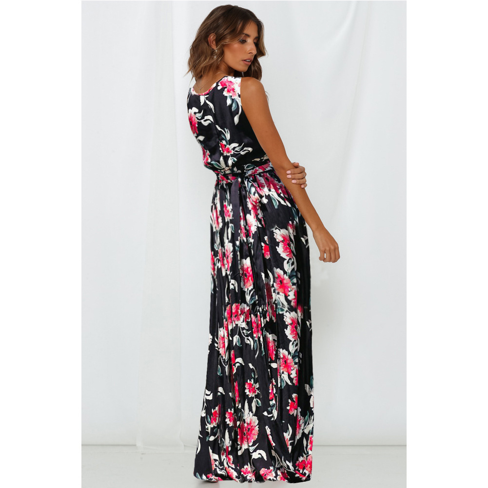Sexy Long Women Beach Print Floral Skirts A Line Prom Party Gowns With Slit