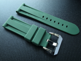 24mm Panerai rubber strap band bracelet with screw solid heavy buckle - $19.90
