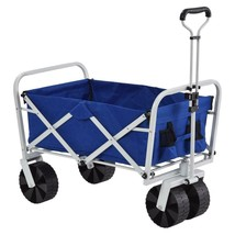 Outdoor Folding Wagon with Metal Handle 11 cu ft 21 inch Blue 150 Lbs Ca... - $116.92