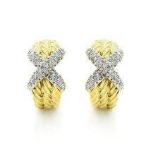 "David Yurman 14K Yellow Gold Cable Huggies ""X"" Pave Diamond Earrings - $2,500.00"