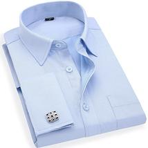 Men 's French Cufflinks Business Dress Shirts Long Sleeves White Blue Tw... - $51.96+