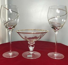 Vintage Mikasa Crystal Jamestown Compote Dish & Gold Swirl Crystal Wine ... - $46.00
