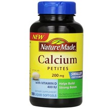 Nature Made Calcium Petites 200 mg With Vitamin D 400 IU, Softgels, 180 ... - $22.94